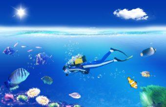 1 scuba diving art vector tropical sports 340x220