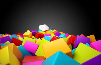 3D Colorful Squares Wallpaper 340x220