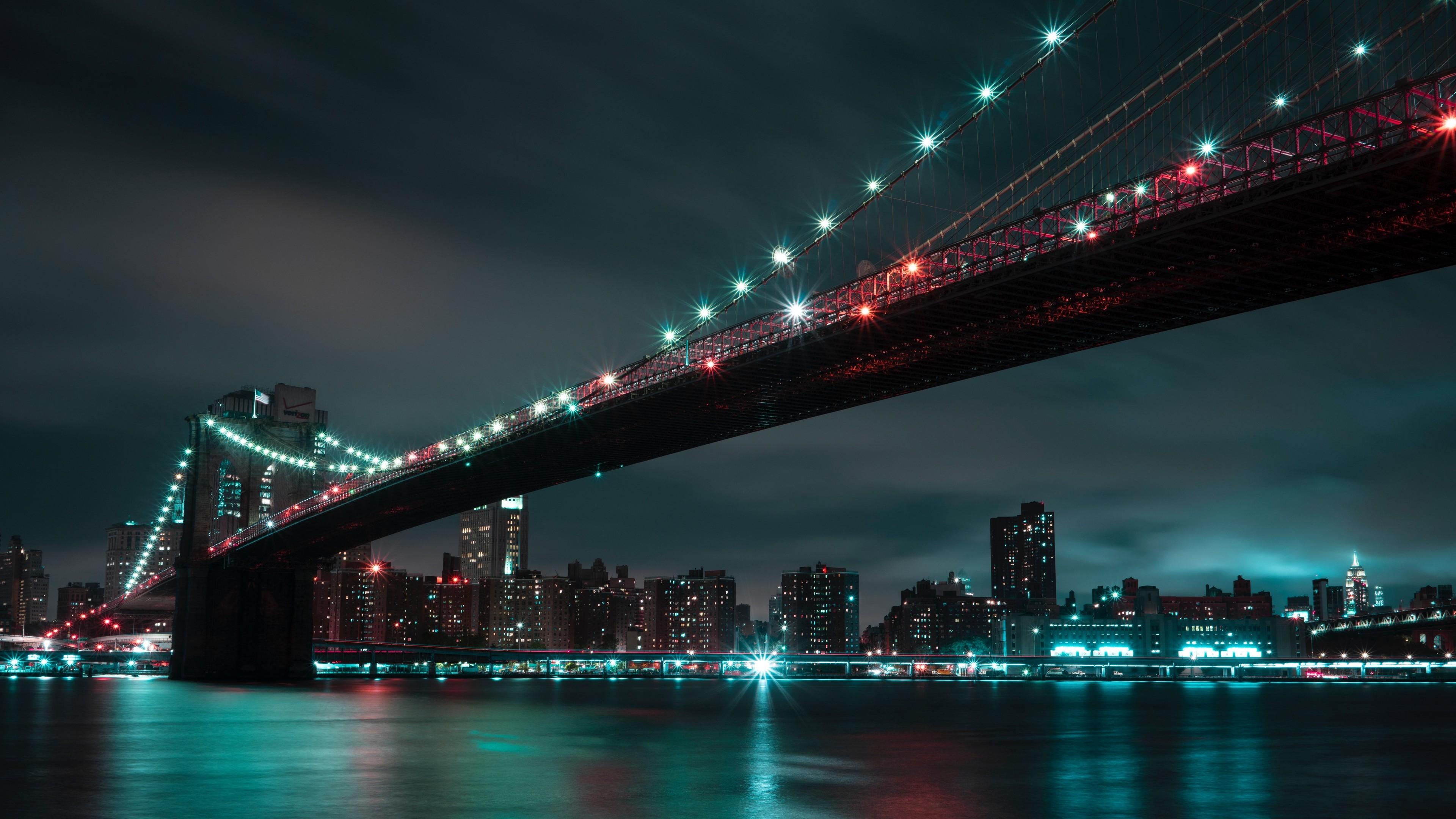 4k Bridge Night City Lights Wallpaper 3840x2160
