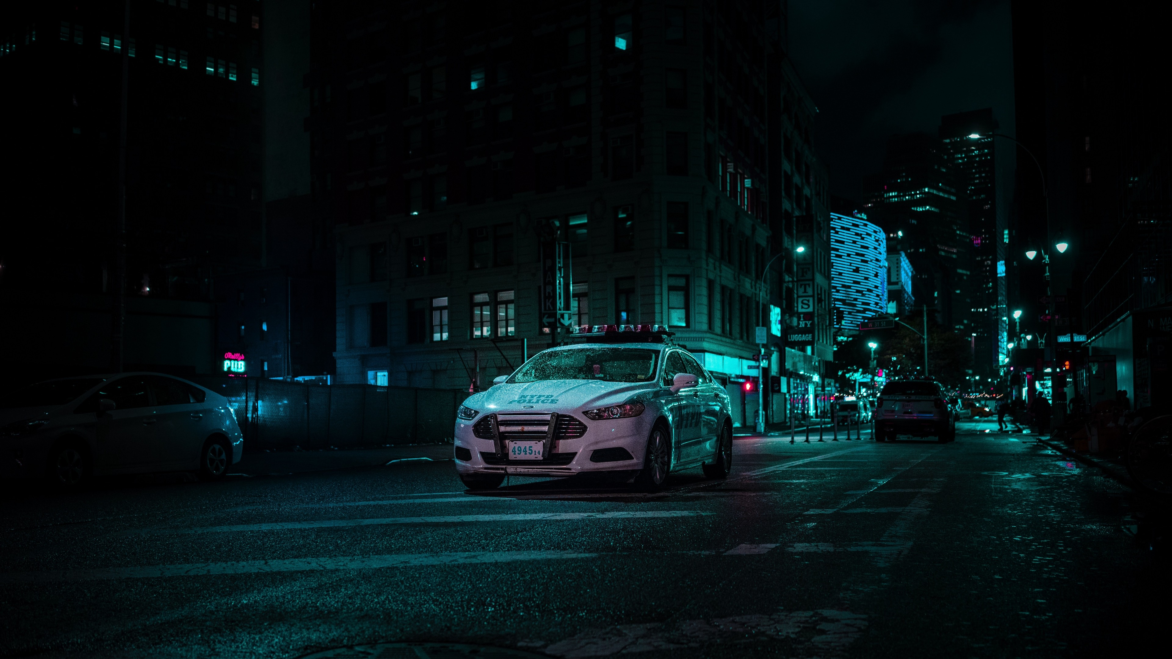 4k Car Police Night City Wallpaper 3840x2160