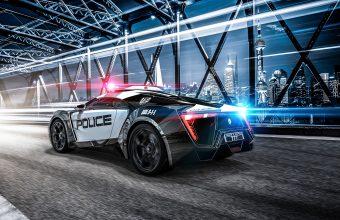 4K Car Police Sportscar Wallpaper 3840x2160 340x220