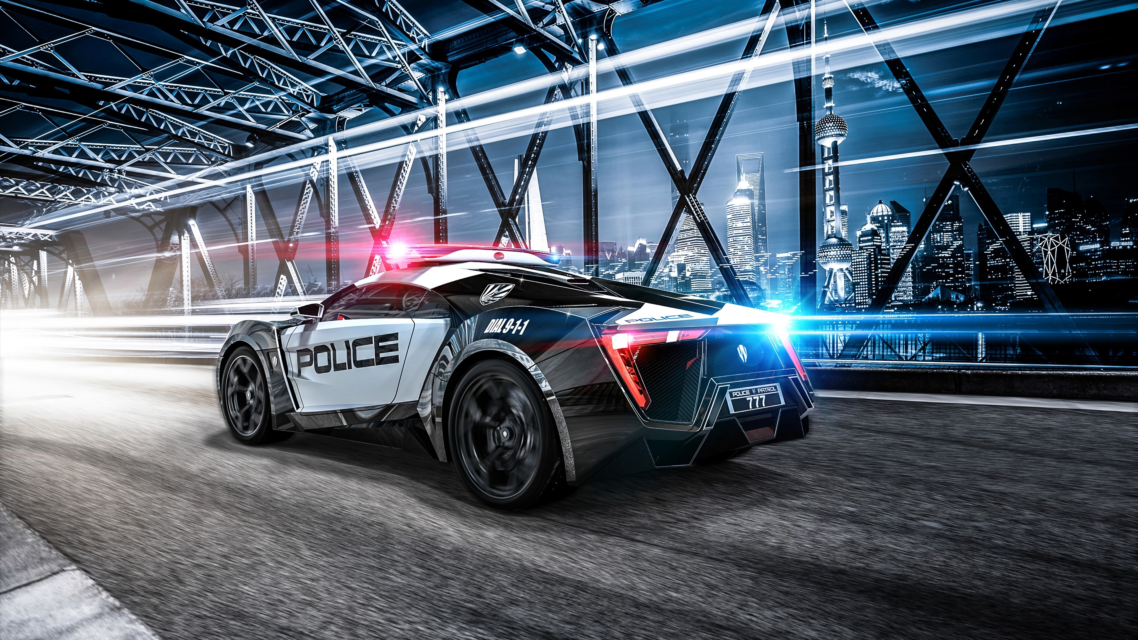 4k Car Police Sportscar Wallpaper 3840x2160