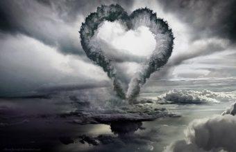 4K Clouds Heart Form Wallpaper 3840x2160 340x220