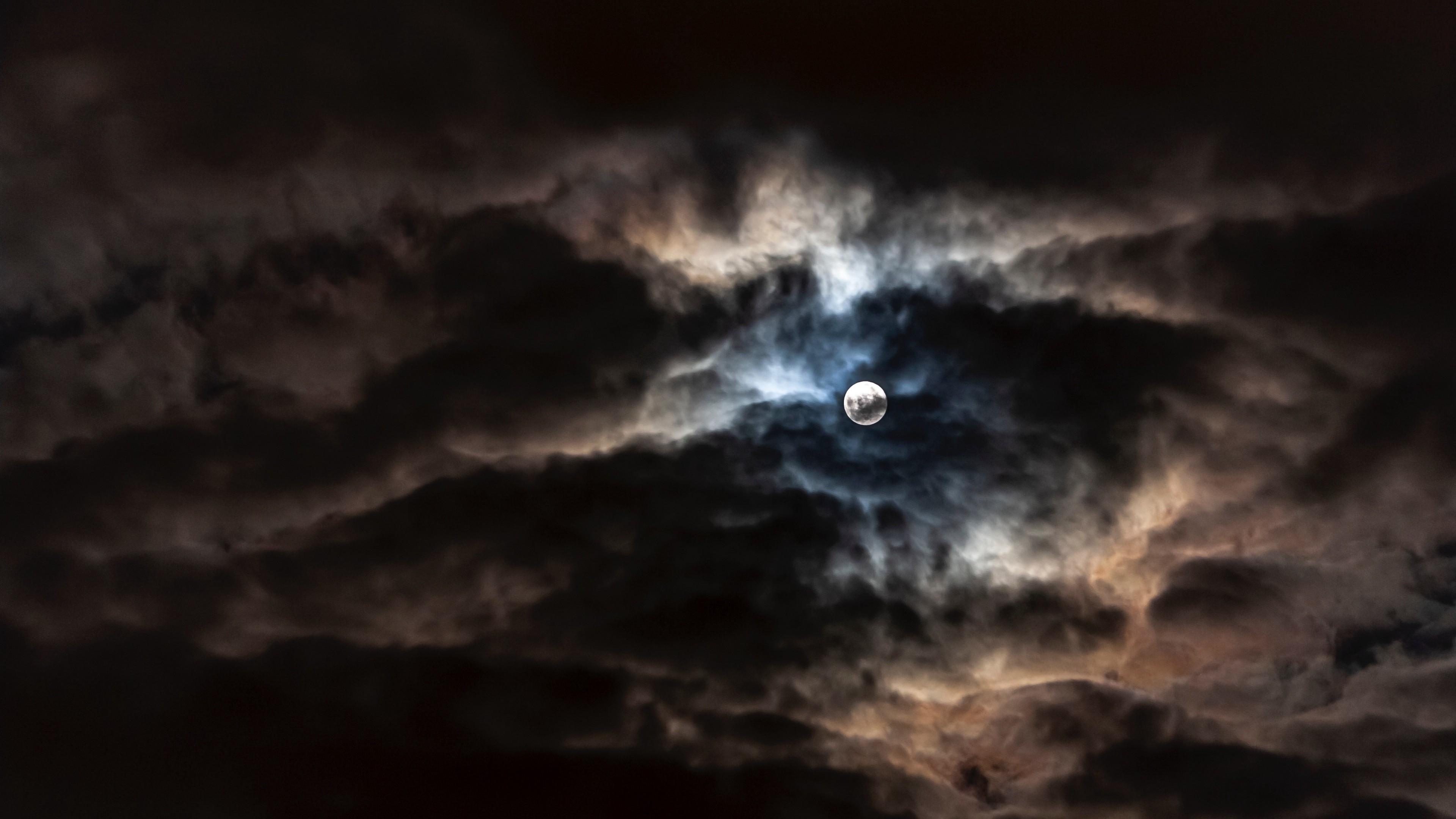 4k Moon Full Moon Clouds Wallpaper 3840x2160