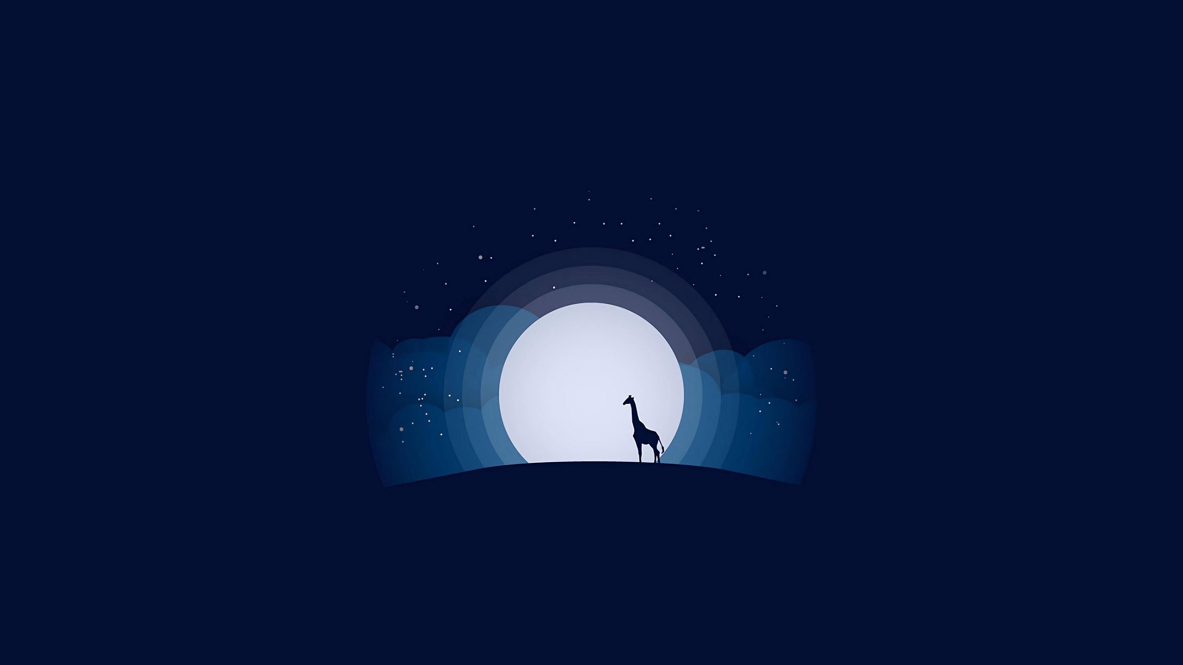 4k Moon Giraffe Hill Wallpaper 3840x2160