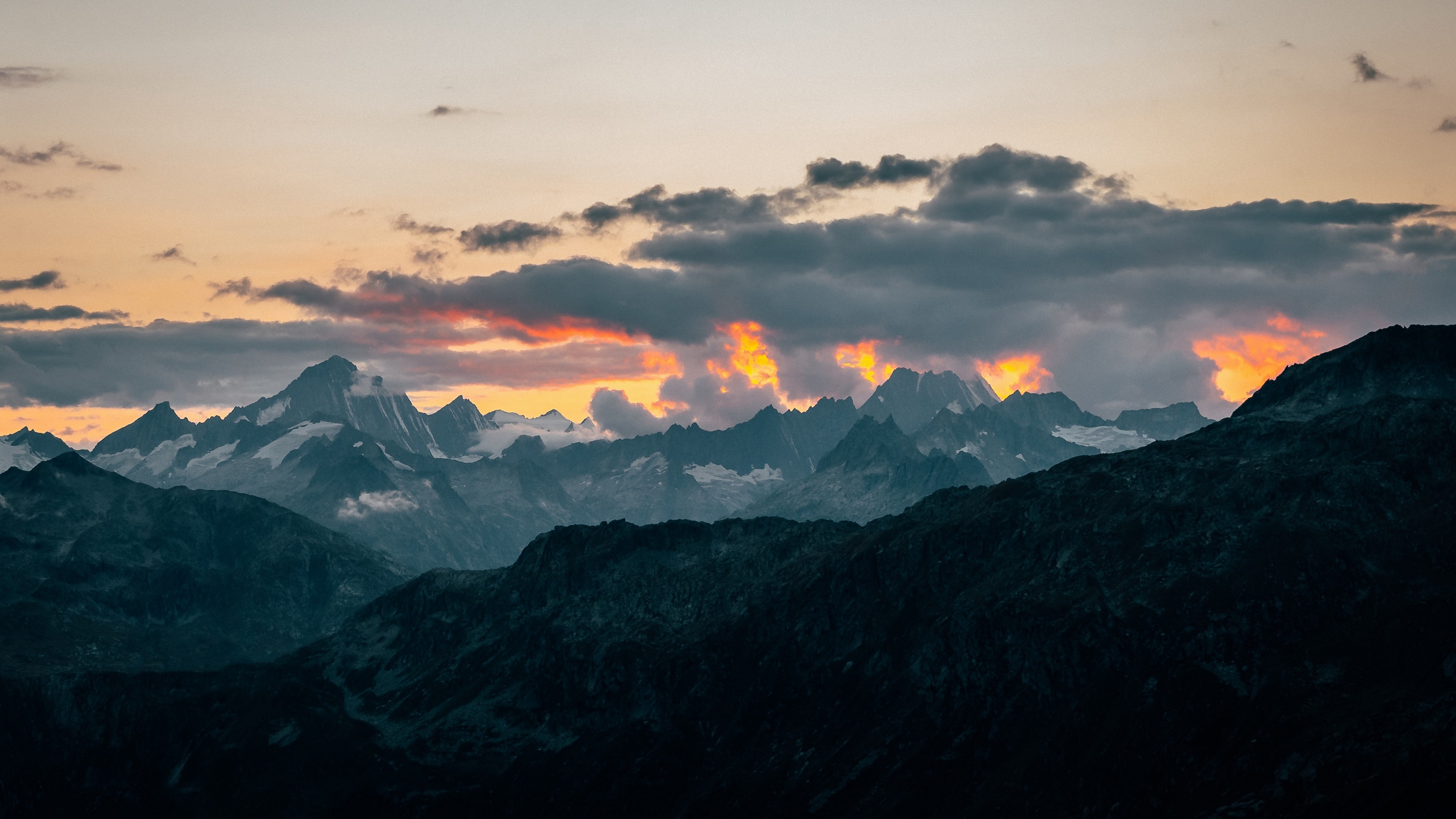 4K Mountains Clouds Landscape Wallpaper - 3840x2160