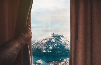 4K Mountains Window Curtain Wallpaper 3840x2160 340x220