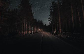 4K Road Forest Night Wallpaper 3840x2160 340x220