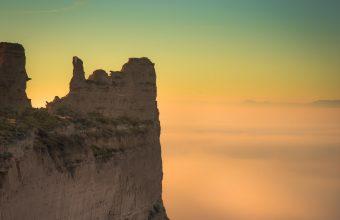 4K Rock Cliff Fog Wallpaper 3840x2160 340x220