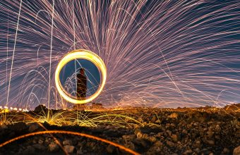 4K Sparks Fire Show Long Exposure Wallpaper 3840x2160 340x220