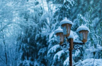 4K Street Lamp Snow Winter Wallpaper 3840x2160 340x220