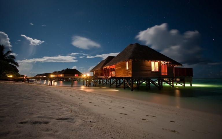 Amazing Night Beach Landscape Wallpaper 1229x768 768x480