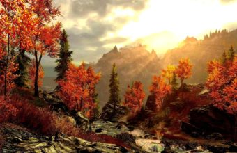 Art Painting Forest Autumn Mountains Wallpaper 2560x1600 340x220