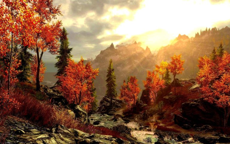 Art Painting Forest Autumn Mountains Wallpaper 2560x1600 768x480