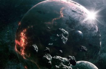 Asteroids Planets Collision Wallpaper 1440x788 340x220