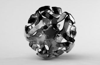 Ball Black White Curly Wallpaper 340x220