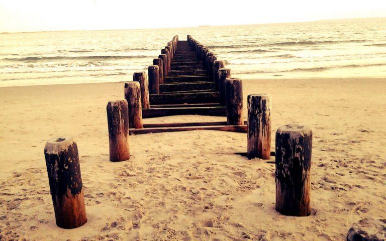 Beach Sand Sea Wood Waves Path Wallpaper 1229x768 768x480