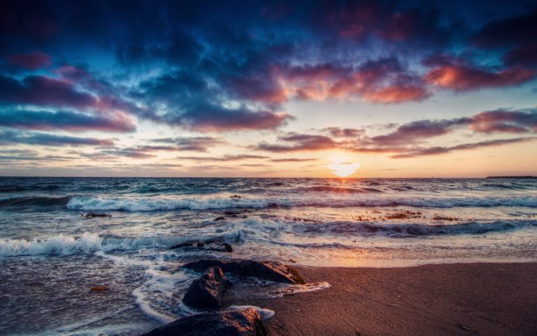 Beach Shore Ocean Sea Sky Clouds Wallpaper 1229x768 768x480