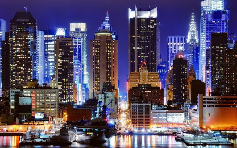 Cityscapes Night New York City Wallpaper 1920x1200 768x480