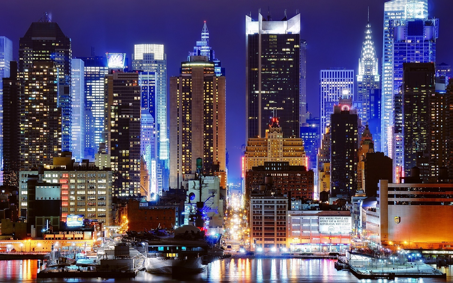 Cityscapes Night New York City Wallpaper 1920x1200