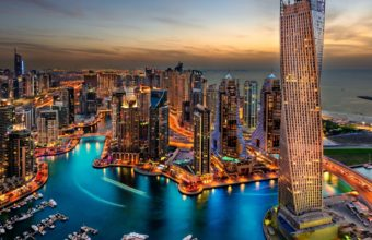 Dubai Evening Marina Wallpaper 1920x1080 340x220