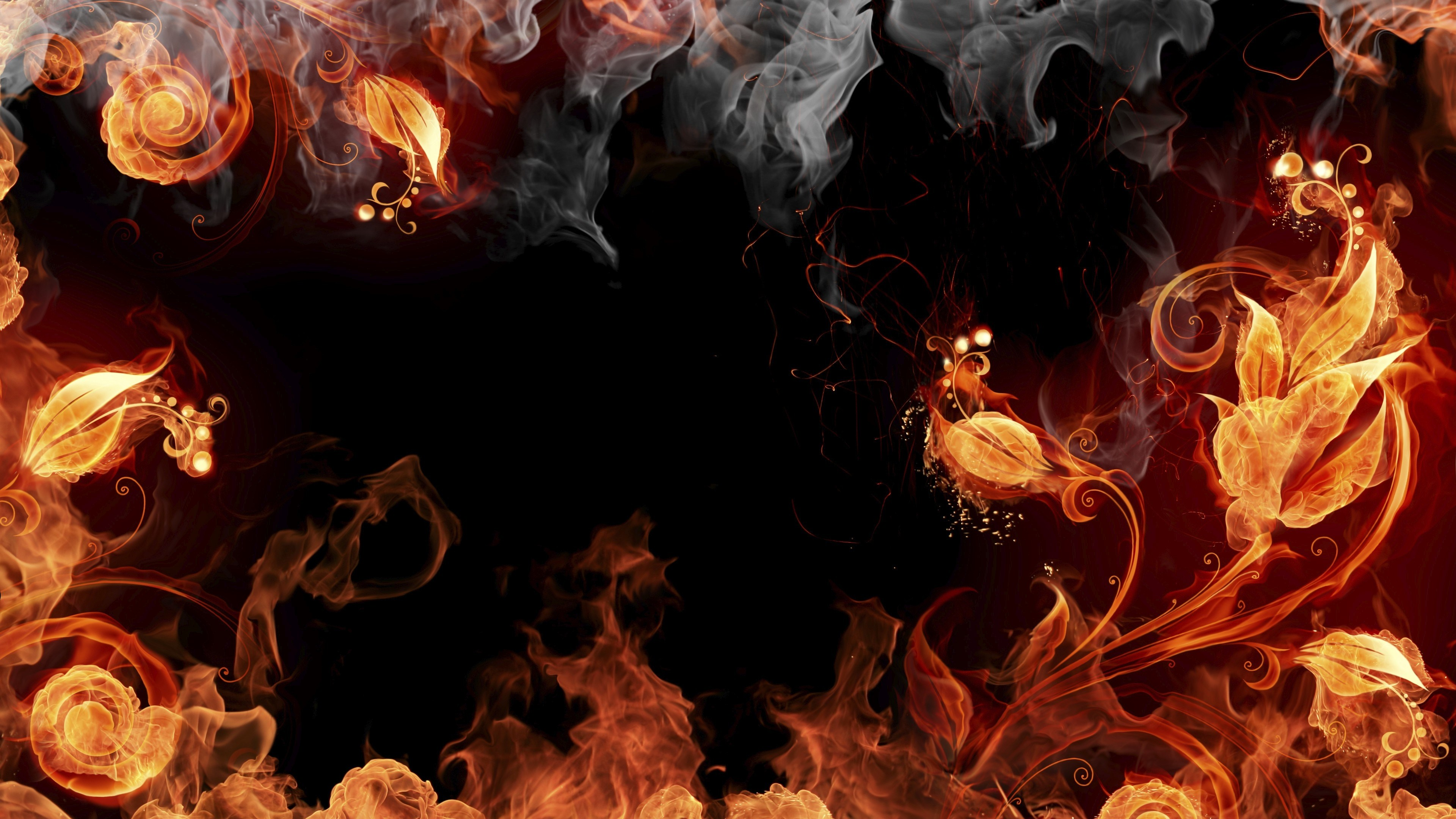 Fire Smoke Flowers 4k Wallpaper 3840x2160