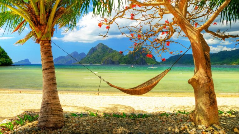 Hammock Mountains Tropics Beach Sea Wallpaper 1920x1080 768x432