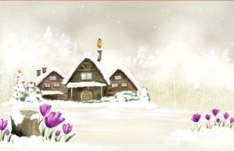 House Winter Drawing Wallpaper 1680x1050 340x220