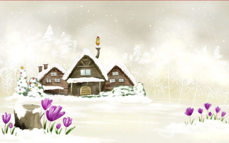 House Winter Drawing Wallpaper 1680x1050 768x480