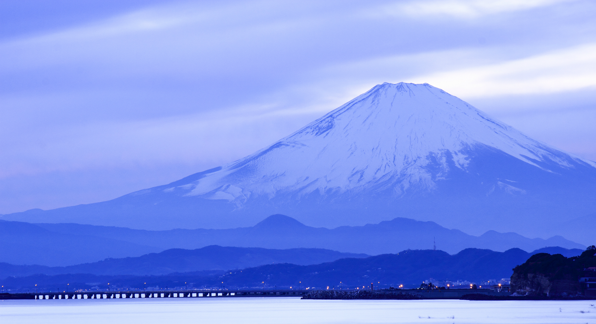 Japan Island Honshu Mountain Fuji Sea Wallpaper 2040x1110