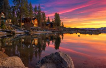 Landscape Lake House Rocks Sunset Wallpaper 1920x1172 340x220
