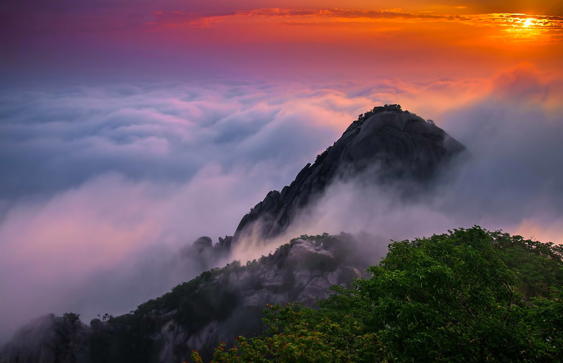 Landscape Mountains Sunrise Wallpaper 1920x1240