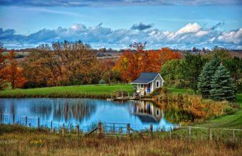 Landscape Nature Autumn Lake House Wallpaper 2048x1368 340x220