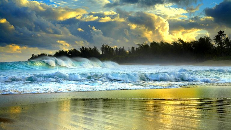 Large Waves Battering Beach Wallpaper 1920x1080 768x432