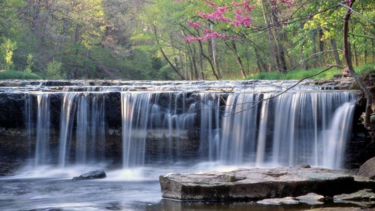 Lovely Stepped Waterfall Wallpaper 768x432