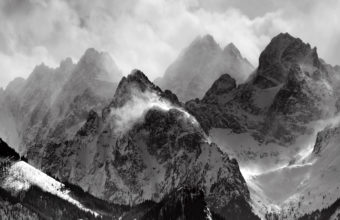 Mountains Clouds Glacier Grayscale Wallpaper 2560x1600 340x220