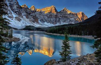 Mountains Reflection Lakes Shore Wallpaper 1920x1200 340x220