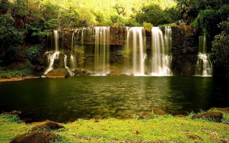 Nature Landscapes Waterfall Cliff Rock Wallpaper 768x480