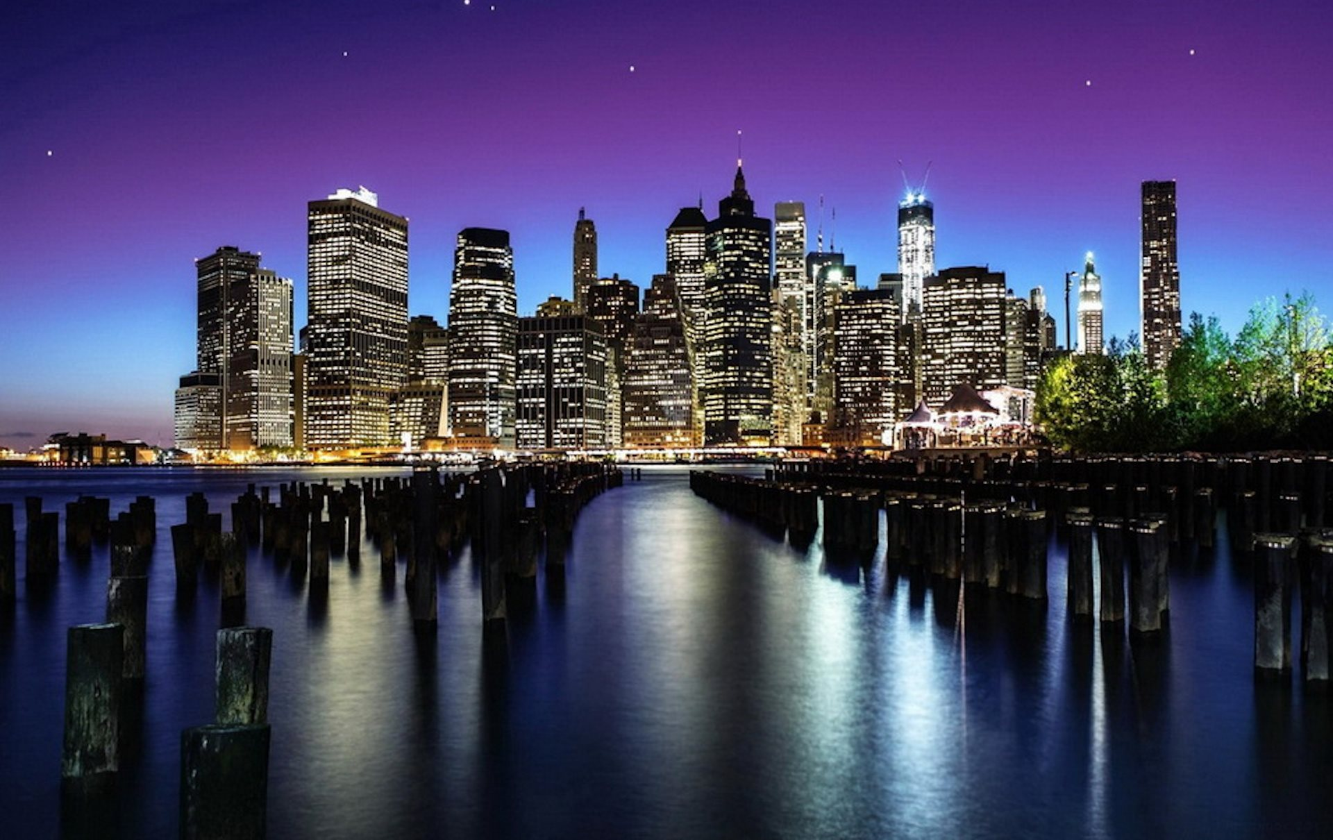 New York Night View Wallpaper 1920x1210