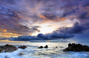 Ocean Clouds Nature Seas Rocks Wallpaper 2560x1440 340x220