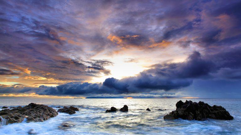 Ocean Clouds Nature Seas Rocks Wallpaper 2560x1440 768x432