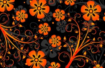 Orange Flowers Texture Vector Wallpaper 1920x1080 340x220