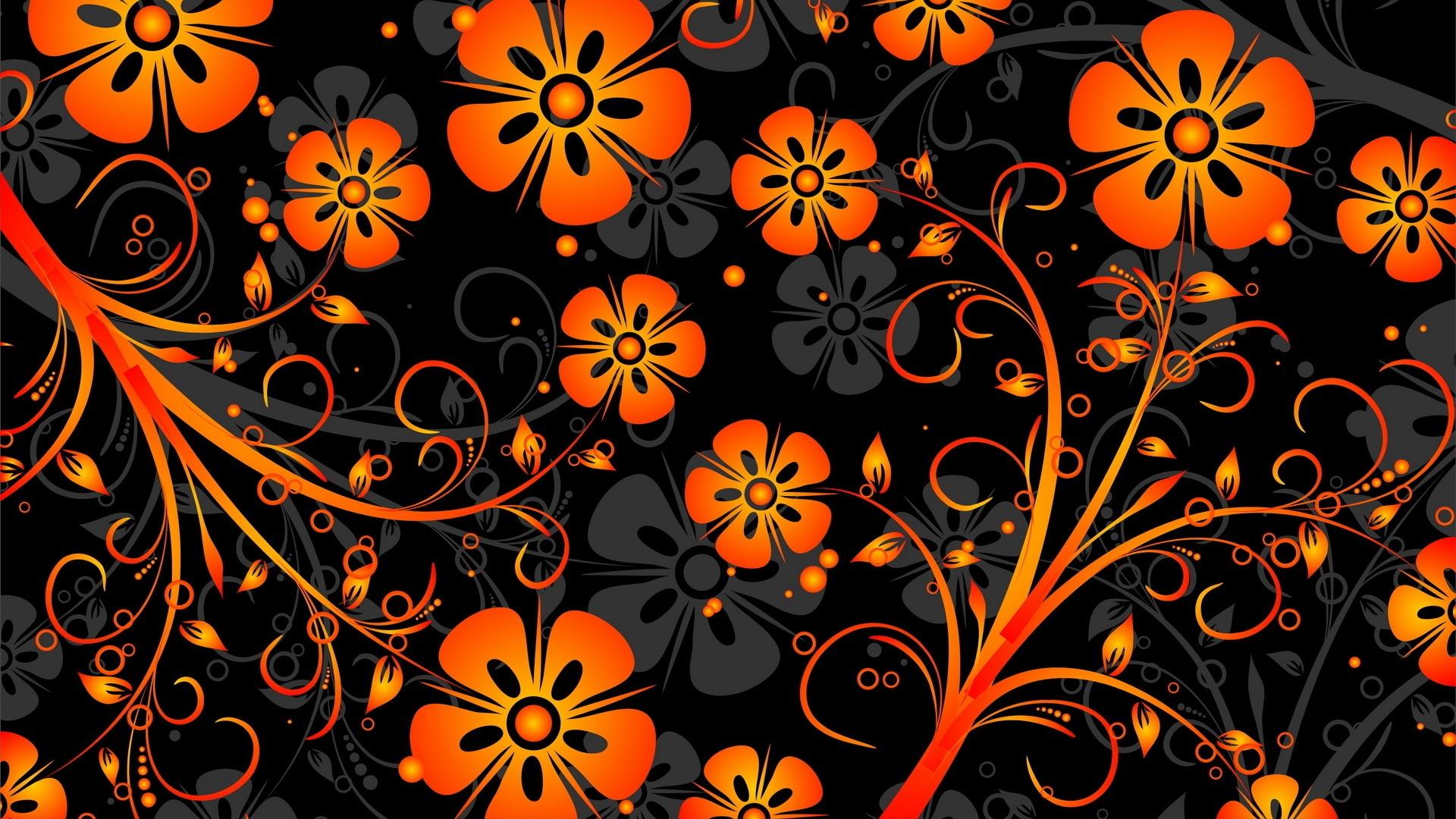 orange flowers texture vector wallpaper 1920x1080