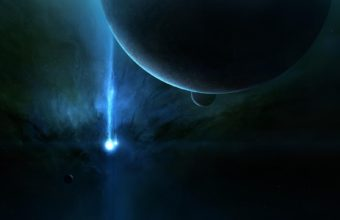 Planet Light Beam Space Wallpaper 1920x1180 340x220