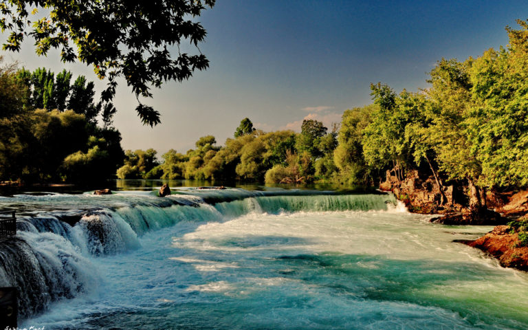 River Waterfall Forest Nature Wallpaper 768x480