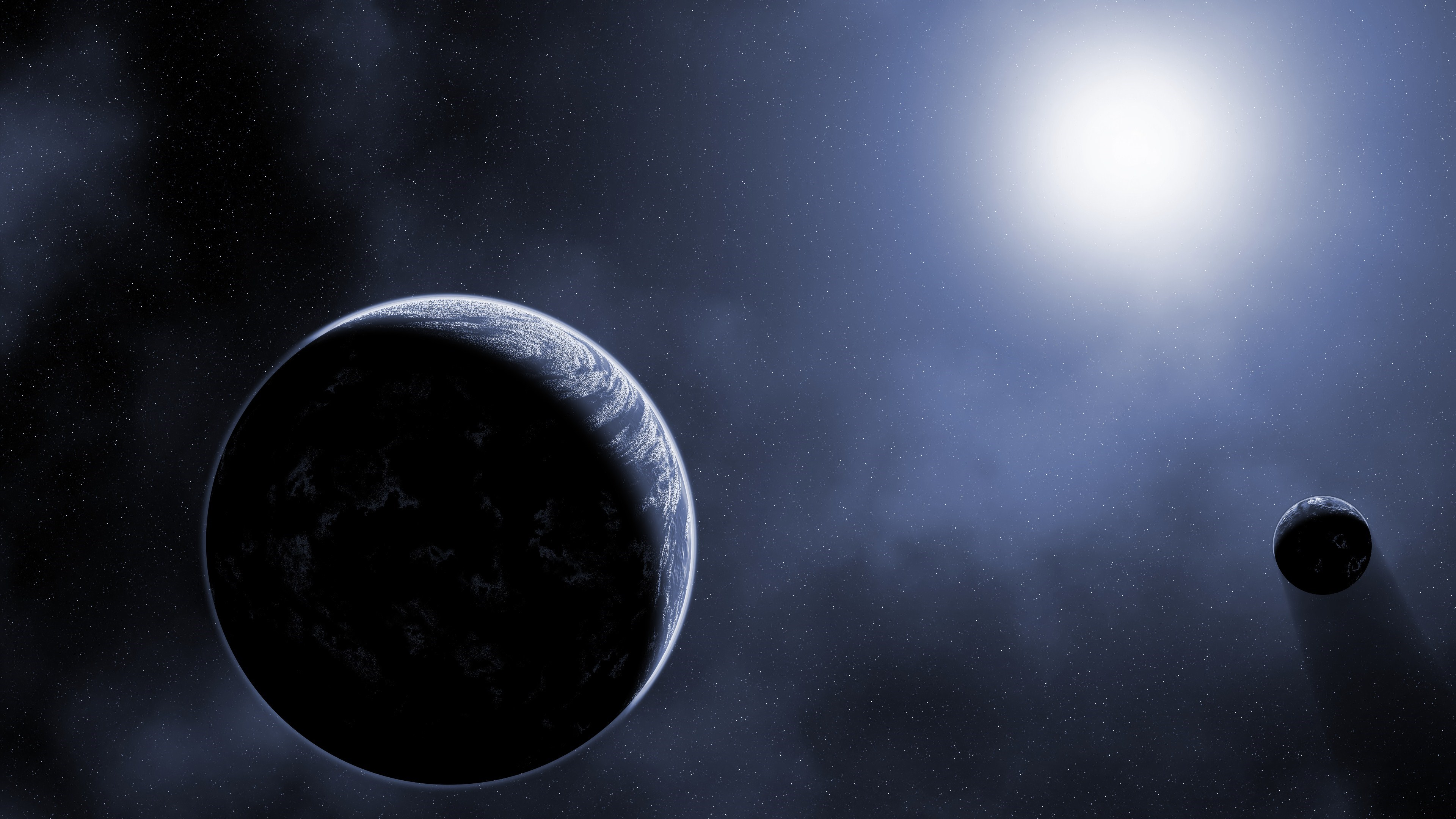 Scientific Planet Galaxy Space Stars 4K Ultra HD Wallpaper