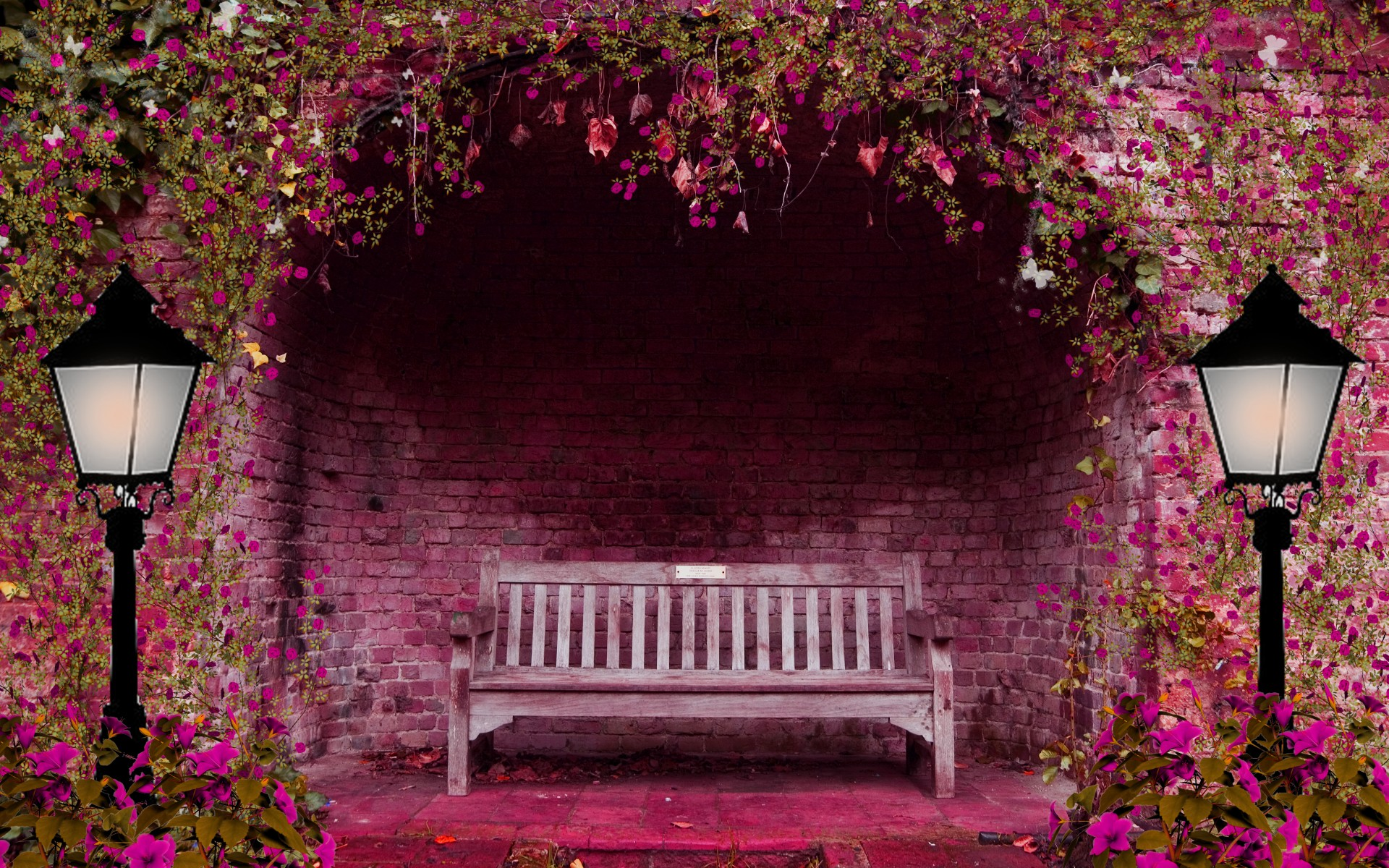 Spring garden flowers arch bench lights wallpaper 1920x1200 mightylinksfo