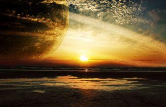 Sunset Sea Rings 4K Ultra HD Wallpaper 3840x2160 340x220