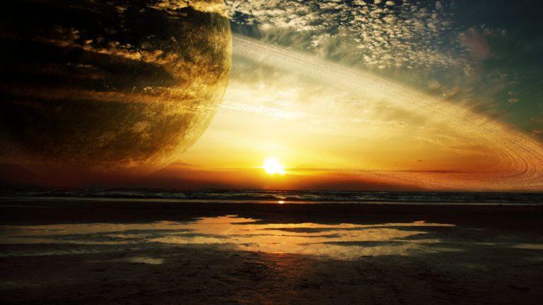Sunset Sea Rings 4K Ultra HD Wallpaper 3840x2160 768x432