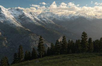 Trees Landscape Ridge Hill Art Peaks Wallpaper 1920x1080 340x220